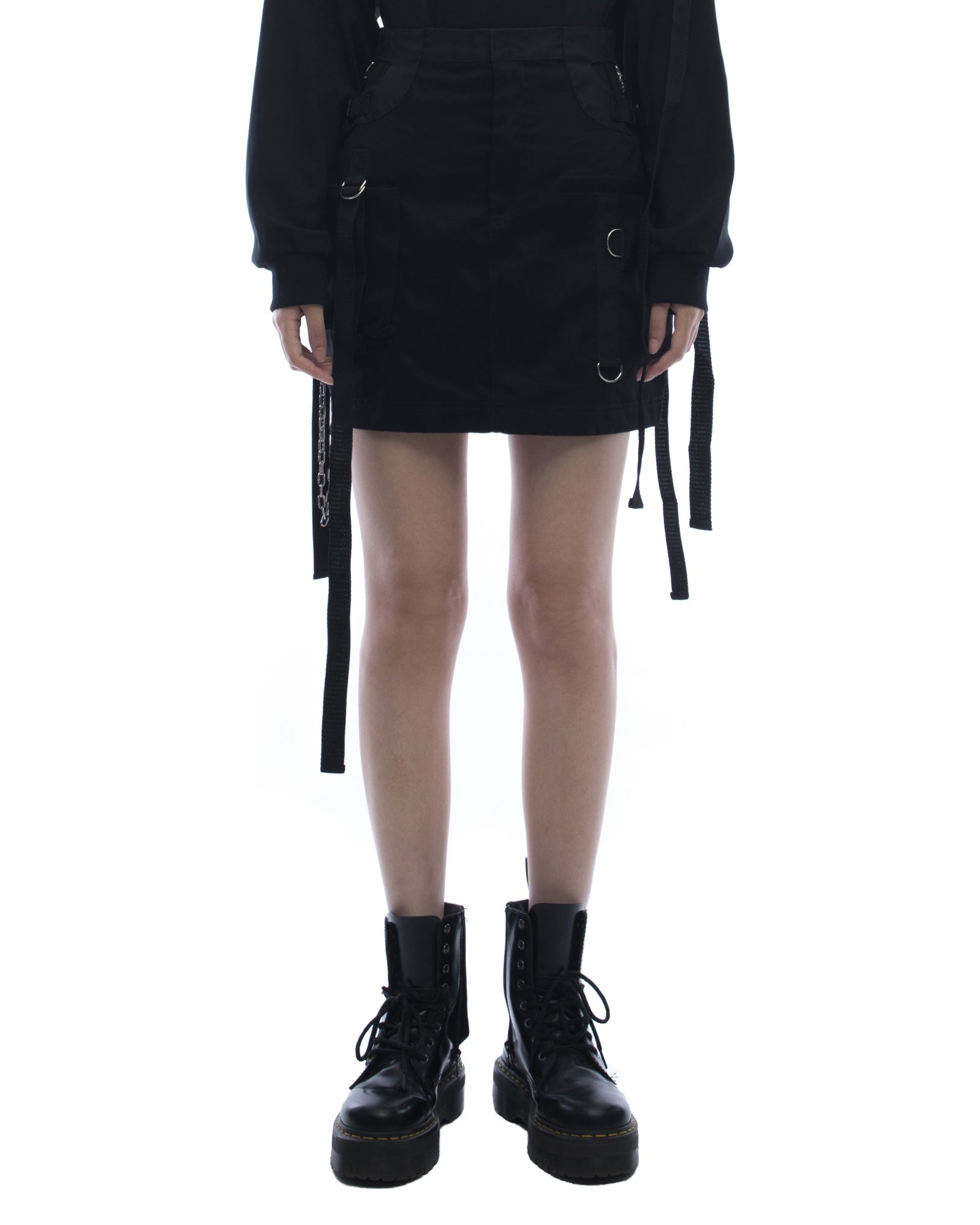 Cut out mini skirt with chains