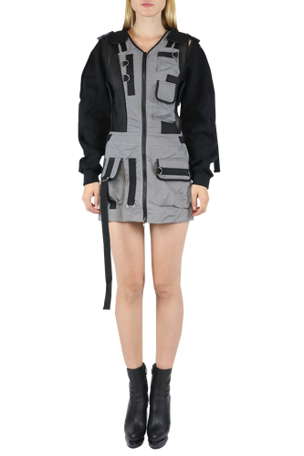 Tactical mini dress with detachable sleeves