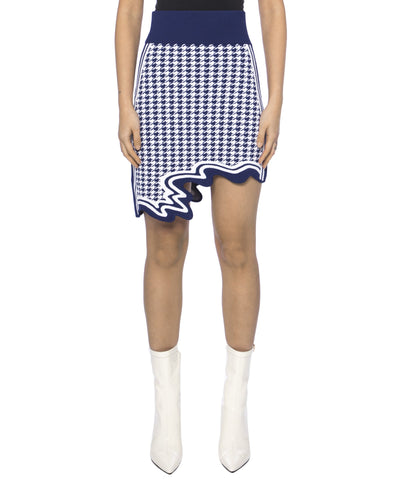 Alpine asymmetric mini skirt - navy & white
