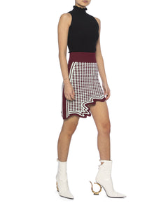 Alpine asymmetric mini skirt - mint green & burgundy