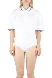 Box shoulder body suit - white