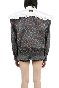 Box shoulder ruffle flower jumper