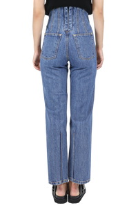 Corseted-back straight jeans - blue