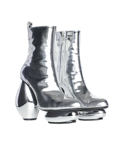 Stone heel boots - silver