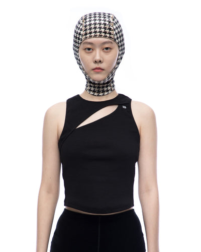 Houndstooth velvet mask - Black Beige