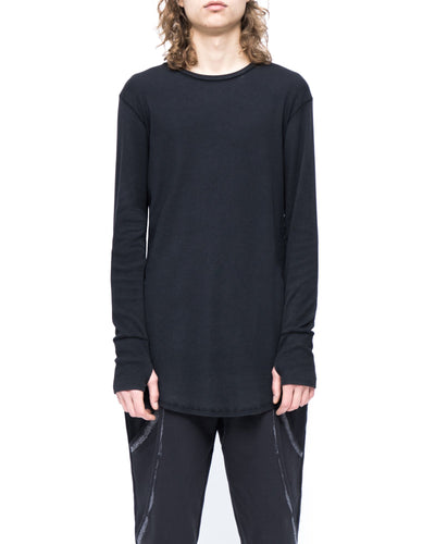 Long sleeve t-shirt rib - black