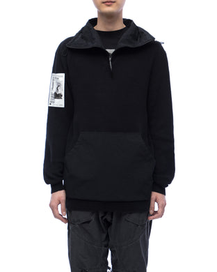 Knitted hoodie with kangaroo pocket - black