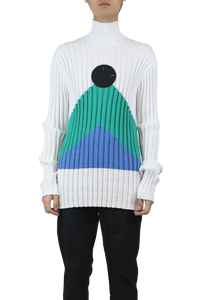 Turtleneck sweater - white green blue