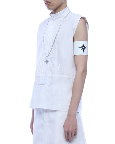 Leather armband - white