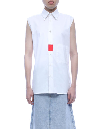 Boxy cut shirt - white orrange