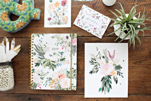 Beautiful Annual monthly weekly planner, stationery and encouraging floral art prints illustrated faith