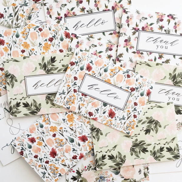 Blush + Olive Floral Pattern Greeting Card Set