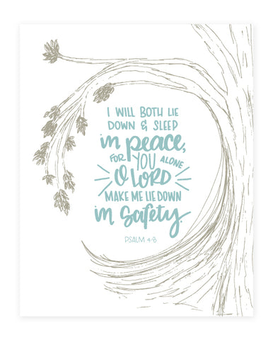 Psalm 4:8 Scripture Art Print