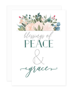 Blush + Olive Floral Blessings of Peace and Grace Greeting Card Set