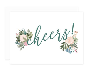 Blush + Olive Floral Cheers Greeting Card Set