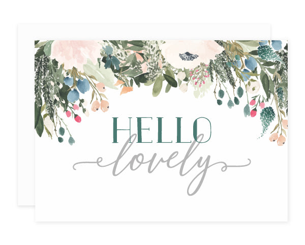 Blush + Olive Floral Hello Lovely Greeting Card Set