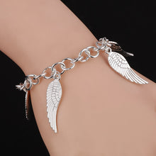 Load image into Gallery viewer, Angel Wing Link Chain Charm Bracelet
