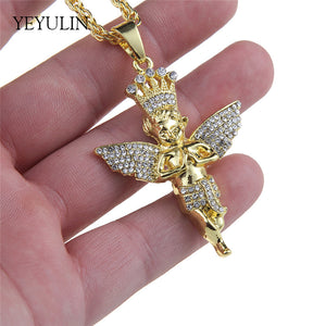 Golden Bling Angel Figure Pendant Necklace