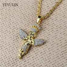Load image into Gallery viewer, Golden Bling Angel Figure Pendant Necklace