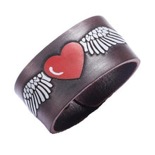 Load image into Gallery viewer, Love Heart Angel Wing Leather Bracelet