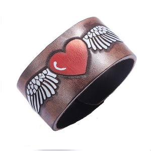 Love Heart Angel Wing Leather Bracelet