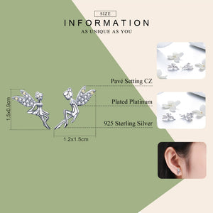 Sterling Silver Spring Fairy Stud Earrings