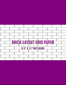 Brick Layout Grid Paper: Use For Beadwork Pattern And Embroidery Smocking Design Beading Graph Paper Notebook - Purple Cover (Large 8.5 X 11)