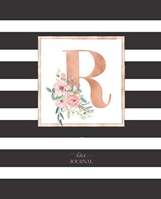 Dotted Journal: Dotted Grid Bullet Notebook Journal Black And White Stripes Rose Gold Monogram Letter R (7.5 X 9.25) For Women Teens Girls And Kids