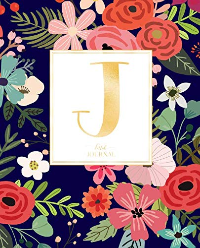 Dotted Journal: Dotted Grid Bullet Notebook Journal Navy Red Flowers Gold Monogram Letter J (7.5 X 9.25) For Women Teens Girls And Kids
