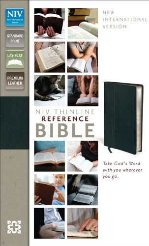 Niv, Thinline Reference Bible, Premium Leather, Black, Red Letter Edition