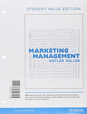 Marketing Management, Student Value Edition Plus Mylab Marketing With Pearson Etext -- Access Card Package (15Th Edition)