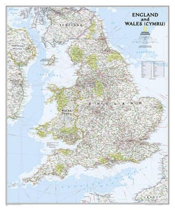 National Geographic: England And Wales Classic Wall Map (30 X 36 Inches) (National Geographic Reference Map)