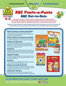 School Zone - Bilingual Abc Dot-To-Dots Deluxe Edition Workbook, Ages 4 To 6, Alphabet, Fine Motor Skills, Following Directions, And More (Spanish Edition)