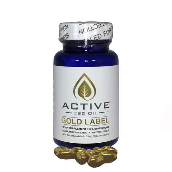 Active CBD Oil 60 ct. CBD Oil Capsules - 1500 MG/Bottle