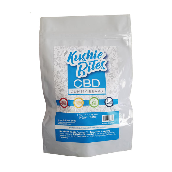 Kushie Bites 50 ct. Gummy Bears - 1250 MG/Bag