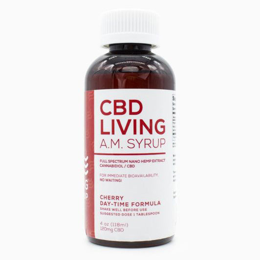 CBD Living Cherry AM Day Syrup - 4 oz -120 MG/Bottle
