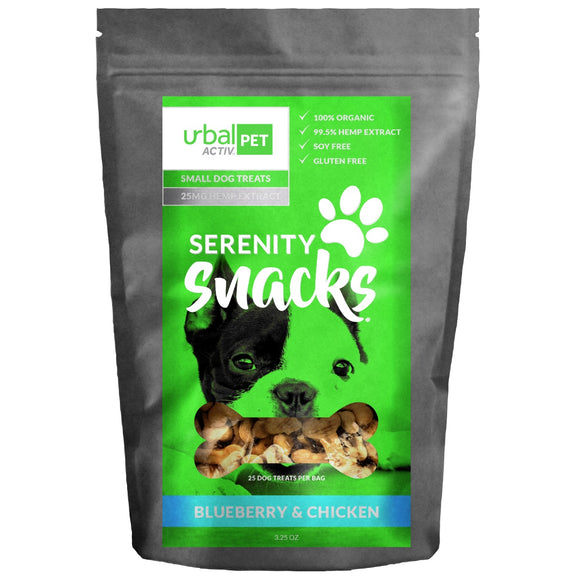 Urbal Activ Small Dog CBD Treats - Blueberry Chicken - 25 MG/Bag