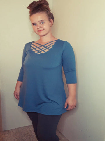 3/4 Sleeve Triple Lattice  Front Top