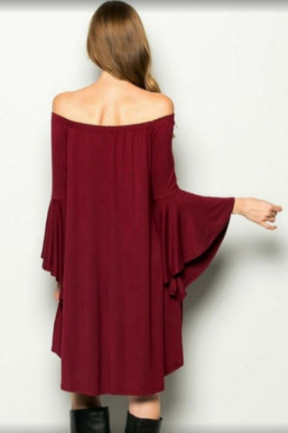 Maroon Mid-length Dress with Bell Sleeves