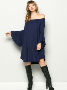 Navy Mid-length Dress with Bell Sleeves