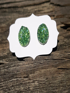 Green druzy earrings hypoallergenic
