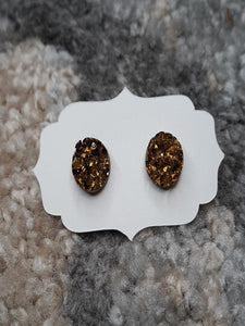 Dark Gold Druzy Earrings