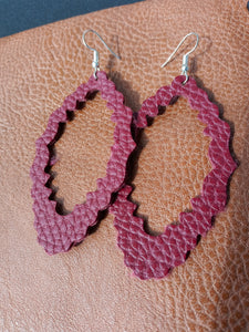 Maroon Leather Earrings