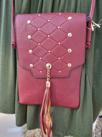 maroon crossbody purse