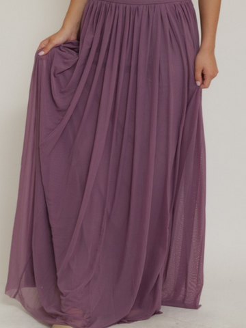 Purple Mesh Maxi Skirt