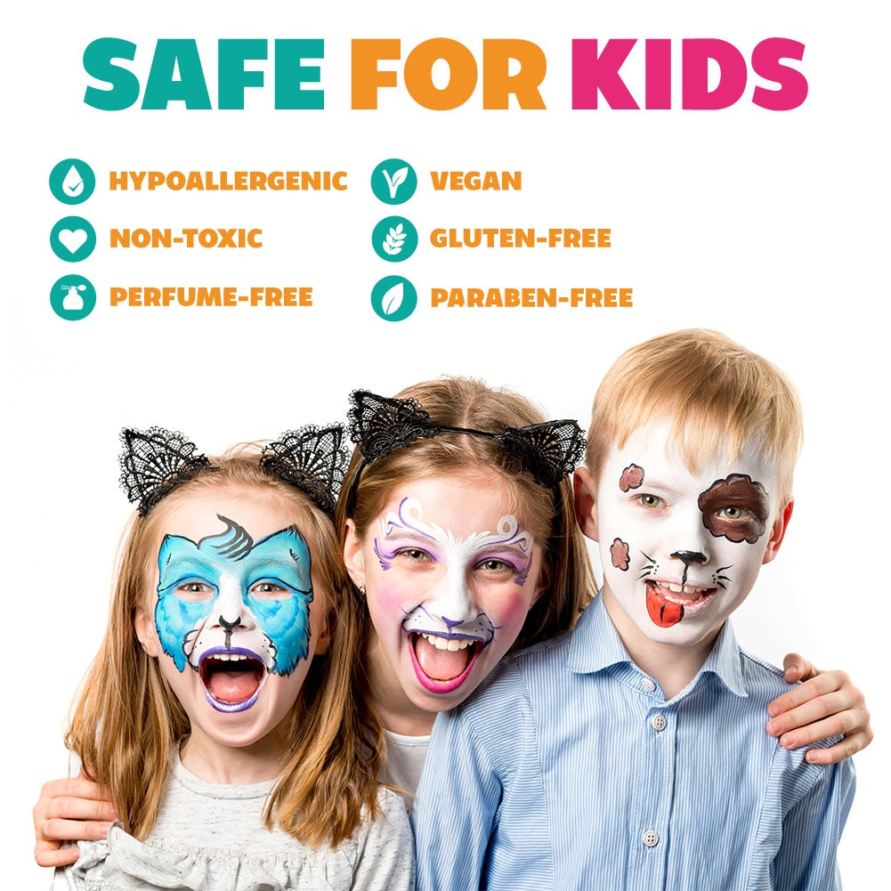 Child Friendly Safe /& Non-Toxic Party /& Halloween Body and Face Painting Palette 12 x 6 gm Kraze FX Splash Sampler Split Cake Palette Ideal for Fairs Hypoallergenic