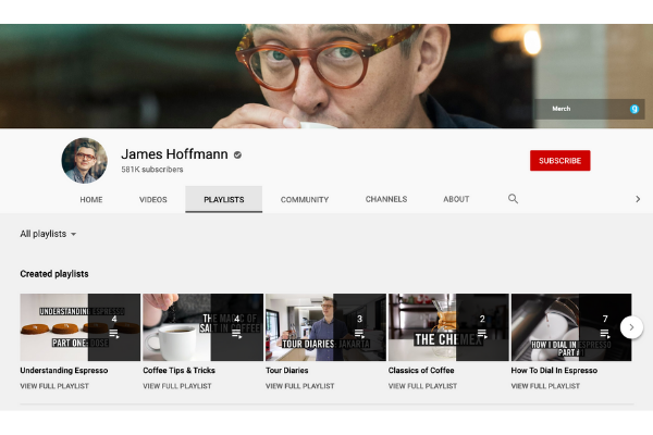 James Hoffman's YouTube page