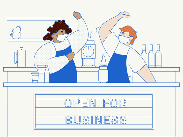 Blue and cream illustration of two baristas
