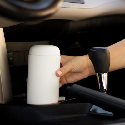 Person in car with Carter Move Mug with Splash Guard in Matte White