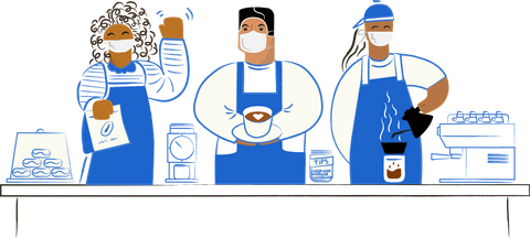 Illustration of three baristas at a coffee shop